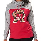 Colosseum Women's Maryland Terrapins Red/Grey The Talk Funnel-Neck Pullover
