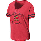 Colosseum Women's Maryland Terrapins Red Savona V-Neck T-Shirt