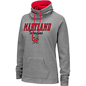 Colosseum Women's Maryland Terrapins Grey Funnel-Neck Pullover Sweatshirt