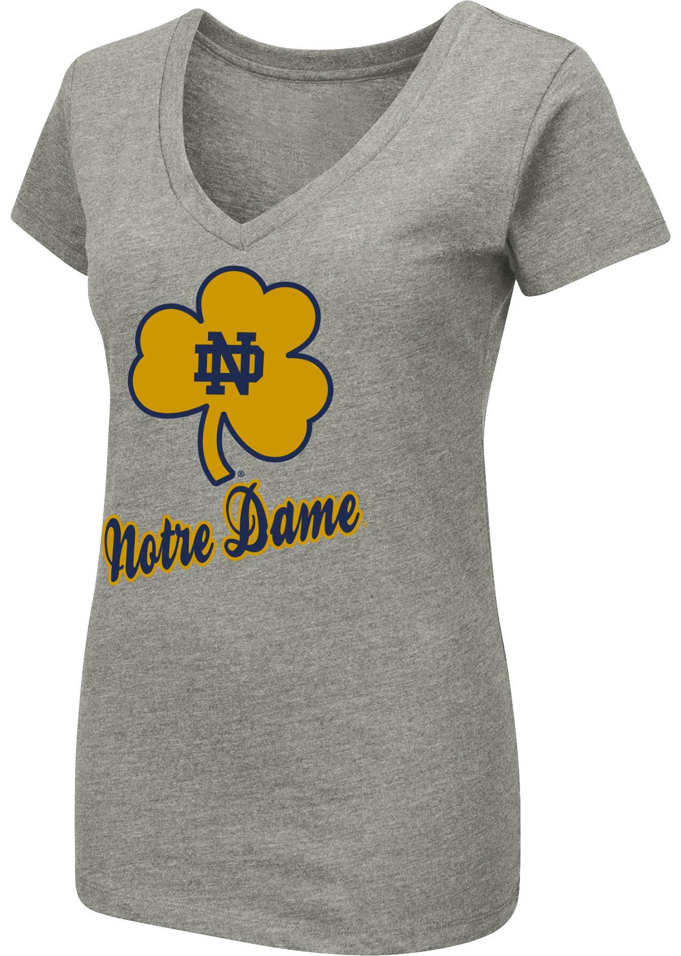 Colosseum Women's Notre Dame Fighting Irish Grey Dual Blend V-Neck T-Shirt