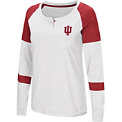 Colosseum Women's Indiana Hoosiers Dorothy Long Sleeve Raglan White T-Shirt
