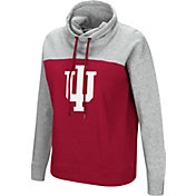 Colosseum Women's Indiana Hoosiers Crimson/Grey The Talk Funnel-Neck Pullover