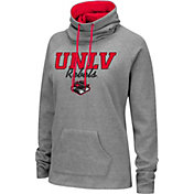 Colosseum Women's UNLV Rebels Grey Funnel-Neck Pullover Sweatshirt