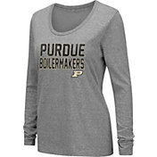 Colosseum Women's Purdue Boilermakers Grey Tri-Blend Long Sleeve T-Shirt