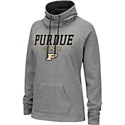 Colosseum Women's Purdue Boilermakers Grey Funnel-Neck Pullover Sweatshirt