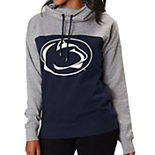 Colosseum Women's Penn State Nittany Lions Blue/Grey The Talk Funnel-Neck Pullover