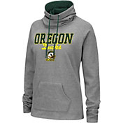 Colosseum Women's Oregon Ducks Grey Funnel-Neck Pullover Sweatshirt