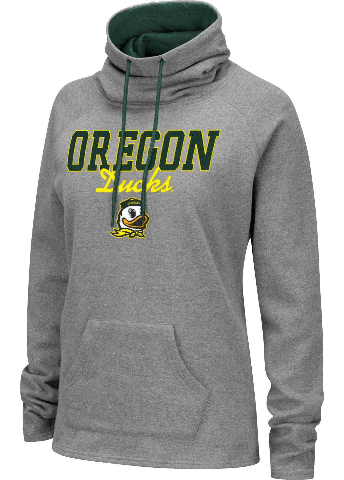 Colosseum Women's Oregon Ducks Grey Funnel-Neck Pullover Sweatshirt