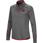 Colosseum Women's Arkansas Razorbacks Grey Shark Quarter-Zip Shirt