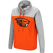 Colosseum Women's Oregon State Beavers Orange/Grey The Talk Funnel-Neck Pullover