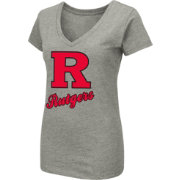Colosseum Women's Rutgers Scarlet Knights Grey Dual Blend V-Neck T-Shirt