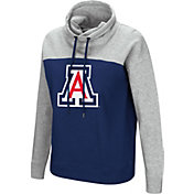Colosseum Women's Arizona Wildcats Navy/Grey The Talk Funnel-Neck Pullover
