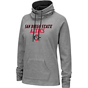 Colosseum Women's San Diego State Aztecs Grey Funnel-Neck Pullover Sweatshirt