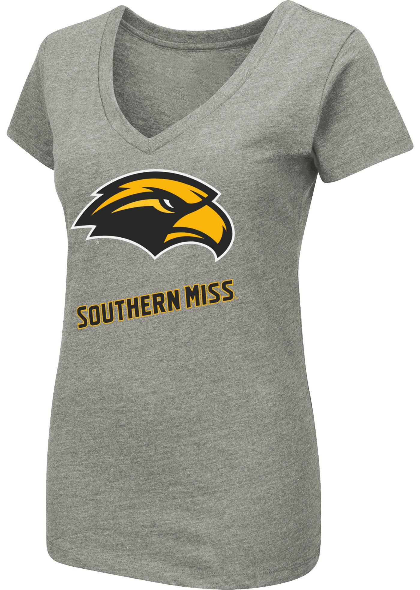 Colosseum Women's Southern Miss Golden Eagles Grey Dual Blend V-Neck T-Shirt