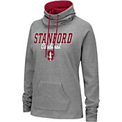 Colosseum Women's Stanford Cardinal Grey Funnel-Neck Pullover Sweatshirt