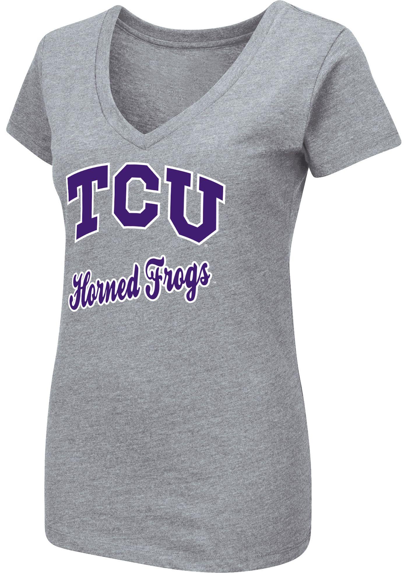Colosseum Women's TCU Horned Frogs Grey Dual Blend V-Neck T-Shirt