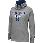 Colosseum Women's Utah State Aggies Grey Funnel-Neck Pullover Sweatshirt