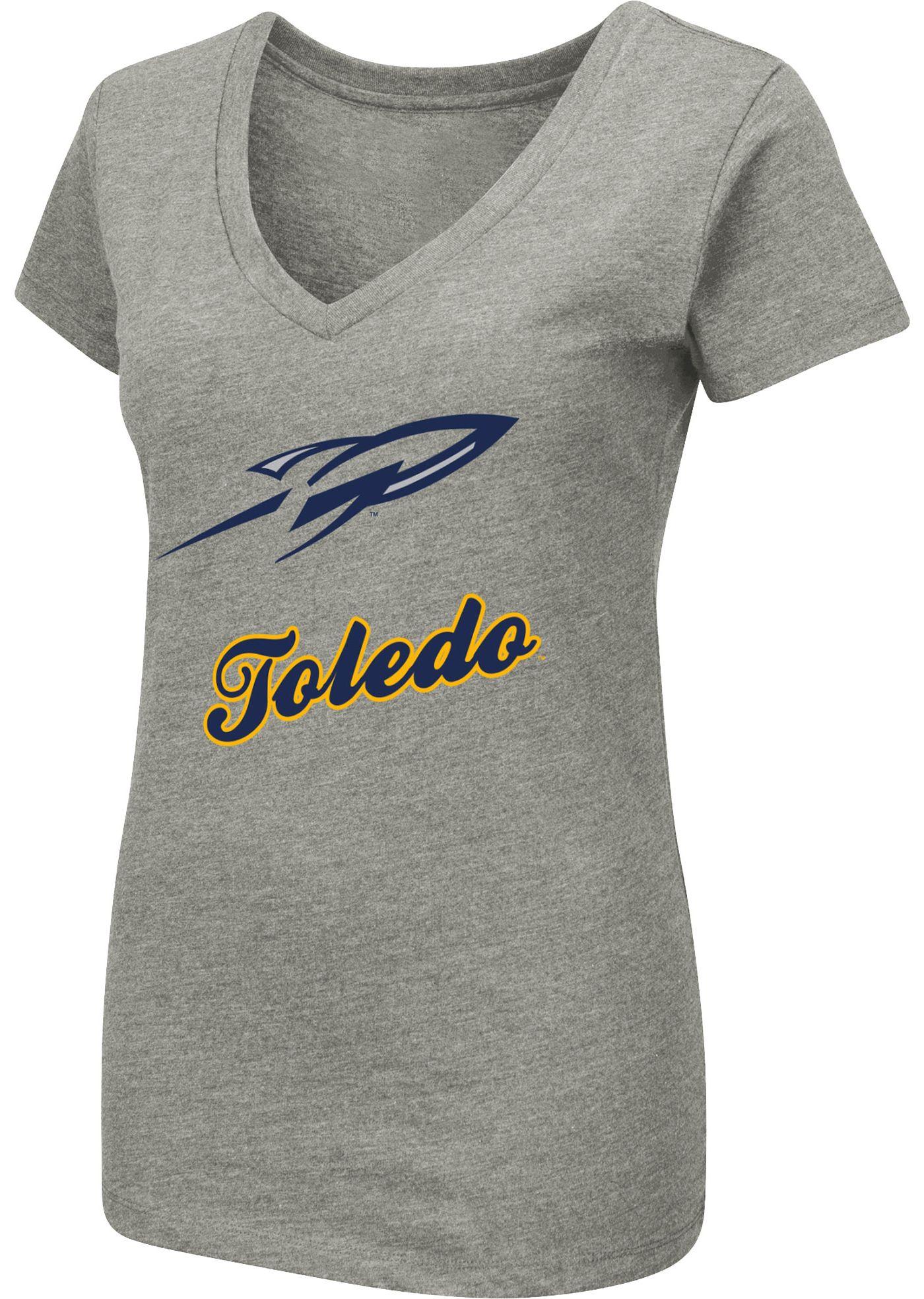 Colosseum Women's Toledo Rockets Grey Dual Blend V-Neck T-Shirt