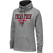 Colosseum Women's Texas Tech Red Raiders Grey Funnel-Neck Pullover Sweatshirt