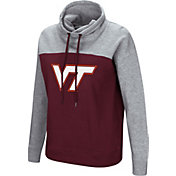 Colosseum Women's Virginia Tech Hokies Maroon/Grey The Talk Funnel-Neck Pullover