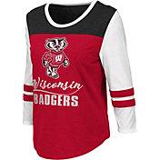 Colosseum Women's Wisconsin Badgers Red ¾ Sleeve Raglan T-Shirt