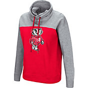 Colosseum Women's Wisconsin Badgers Red/Grey The Talk Funnel-Neck Pullover