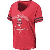 Colosseum Women's Wisconsin Badgers Red Savona V-Neck T-Shirt