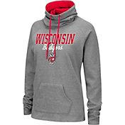 Colosseum Women's Wisconsin Badgers Grey Funnel-Neck Pullover Sweatshirt