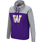 Colosseum Women's Washington Huskies Purple/Grey The Talk Funnel-Neck Pullover
