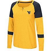 Colosseum Women's West Virginia Mountaineers Gold Dorothy Long Sleeve Raglan T-Shirt