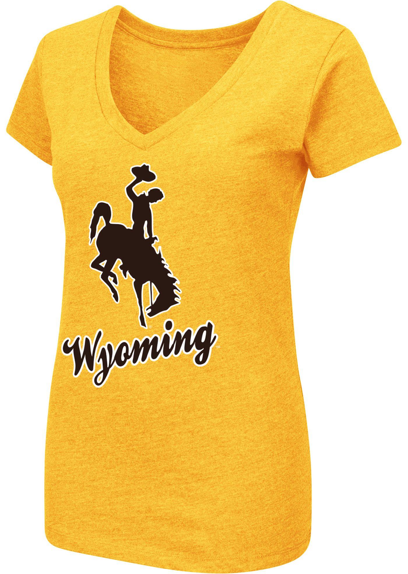 Colosseum Women's Wyoming Cowboys Navy Dual Blend V-Neck T-Shirt