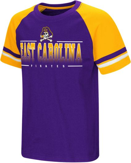 Colosseum Youth East Carolina Pirates Purple/Gold Rad Tad Raglan T-Shirt
