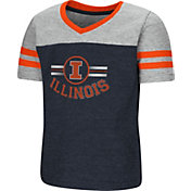 Colosseum Toddler Girls' Illinois Fighting Illini Navy/Grey Pee Wee Football T-Shirt