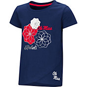 Colosseum Toddler Girls' Ole Miss Rebels Blue Whoo! Whoo! T-Shirt