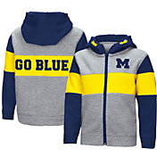 Colosseum Toddler Boys' Michigan Wolverines Grey Snowplough Full-Zip Hoodie