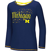 Colosseum Youth Girls' Michigan Wolverines Blue Camber Long Sleeve T-Shirt