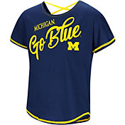 Colosseum Youth Girls' Michigan Wolverines Blue Little Giants Dolman T-Shirt