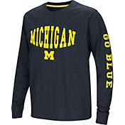 Colosseum Youth Michigan Wolverines Blue Spike Long Sleeve T-Shirt