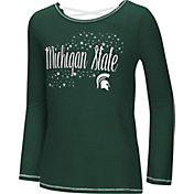 Colosseum Youth Girls' Michigan State Spartans Green Camber Long Sleeve T-Shirt