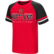 Colosseum Youth Maryland Terrapins Red/Black Rad Tad Raglan T-Shirt
