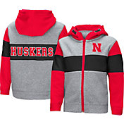 Colosseum Toddler Boys' Nebraska Cornhuskers Grey Snowplough Full-Zip Hoodie