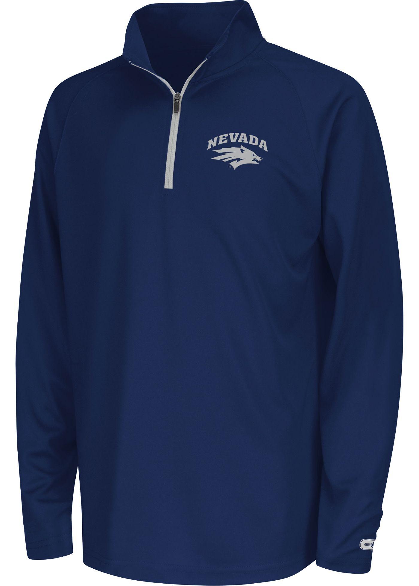 Colosseum Youth Nevada Wolf Pack Blue Draft Quarter-Zip Shirt