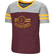 Colosseum Toddler Girls' Arizona State Sun Devils Maroon/Gold Pee Wee Football T-Shirt