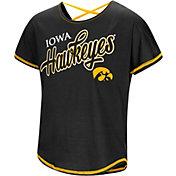 Colosseum Youth Girls' Iowa Hawkeyes Little Giants Dolman Black T-Shirt
