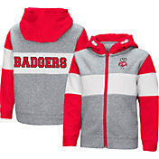 Colosseum Toddler Boys' Wisconsin Badgers Grey Snowplough Full-Zip Hoodie