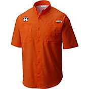 Columbia Men's Houston Astros Orange Tamiami Performance Short Sleeve Shirt