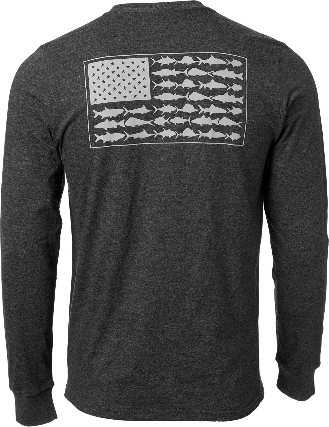 Columbia Men's PFG Americana Saltwater Fish Flag Long Sleeve Shirt