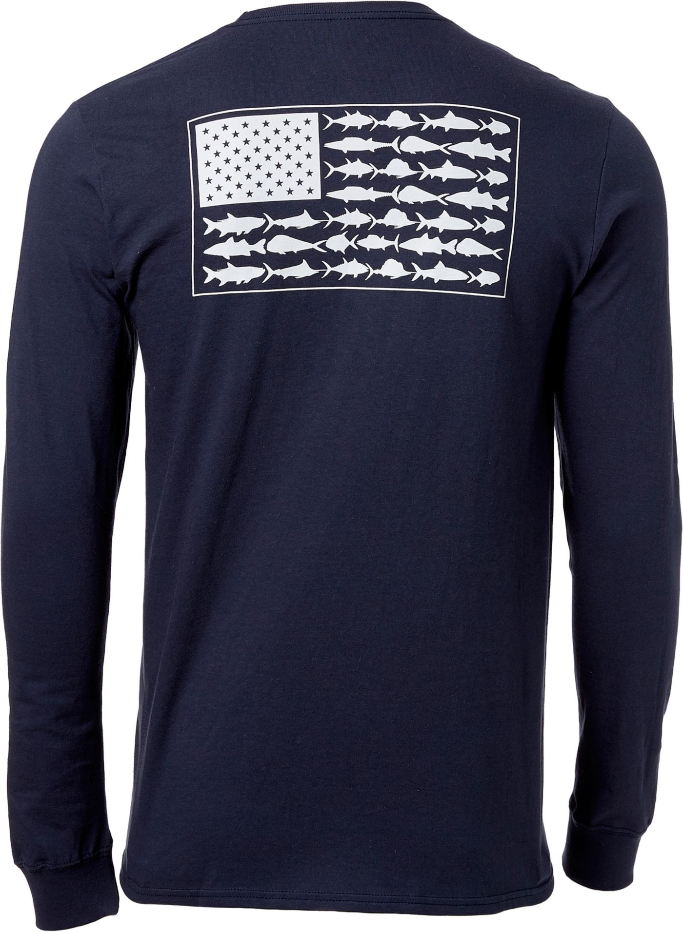 Columbia Men's PFG Americana Saltwater Fish Flag Long Sleeve Shirt