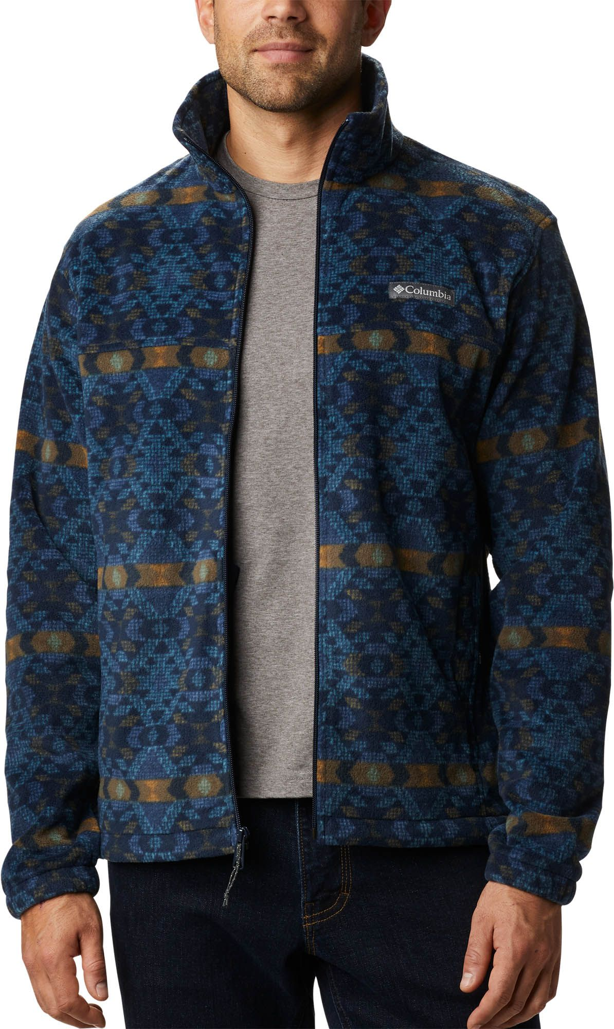 Columbia Men's Steens Mountain Print Fleece Jacket, Small, Blue