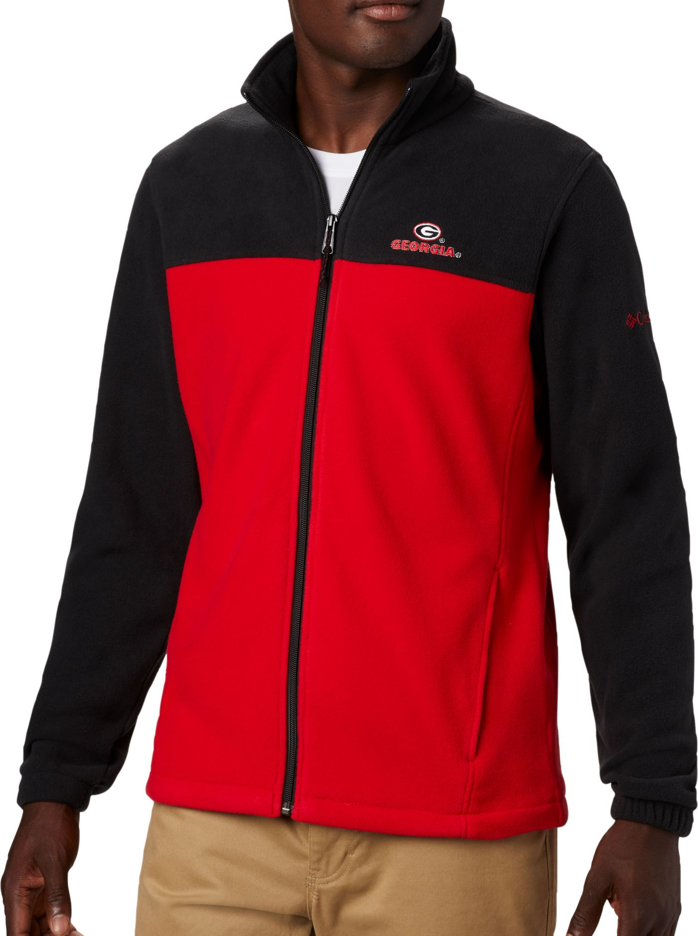 Columbia Men's Georgia Bulldogs Flanker Full-Zip Fleece Black Jacket